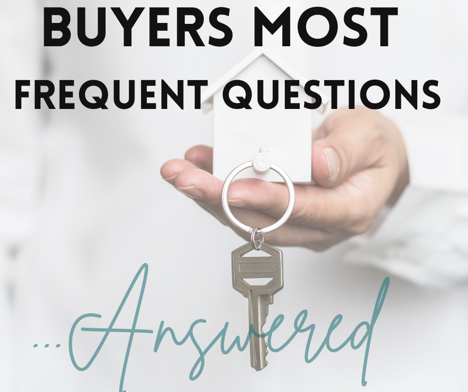 Shows a picture of a mini house and a set of keys and the text reads Buyers Most Frequent Questions Answered