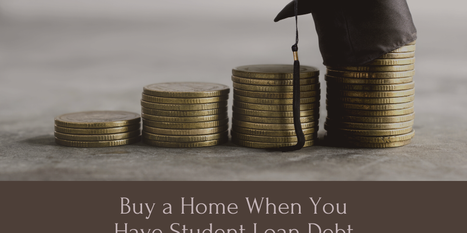 Text Buy a home with student loan debt and it shows a picture of a graduation hat and money