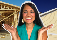 Casey standing in front of a new construction home and an existing built home